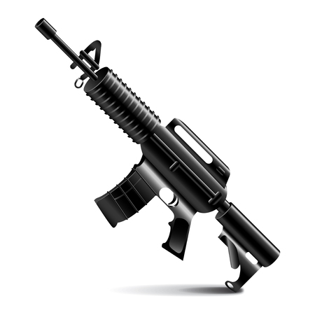 swat: Automatic weapon isolated on white photo-realistic vector illustration