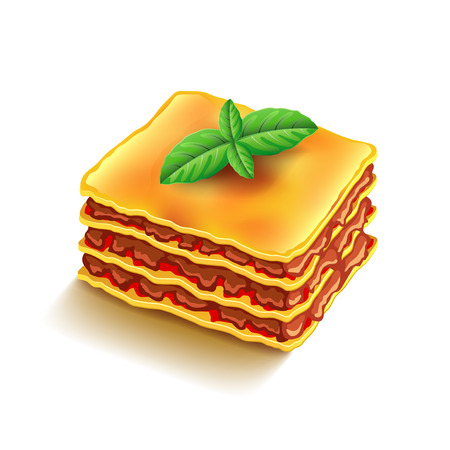 Lasagna isolated on white photo-realistic vector illustration