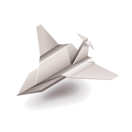 paper arts and crafts: Origami plane isolated on white photo-realistic vector illustration