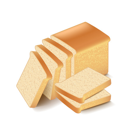 white bread: White bread sliced isolated on white photo-realistic vector illustration