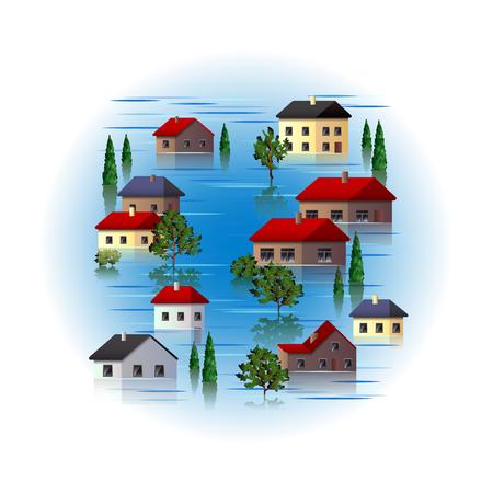 flood: Flood isolated on white photo-realistic vector illustration