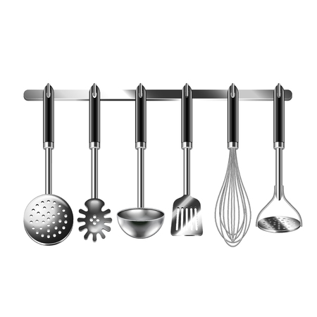 Kitchen utensils isolated on white photo-realistic vector illustration