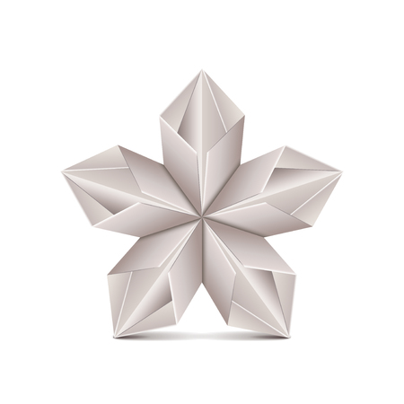 paper art: Origami flower isolated on white photo-realistic vector illustration