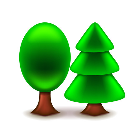 photorealistic: Trees icon isolated on white photo-realistic vector illustration Illustration