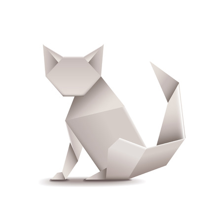 paper arts and crafts: Origami cat isolated on white photo-realistic vector illustration