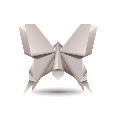photorealistic: Origami butterfly isolated on white photo-realistic vector illustration