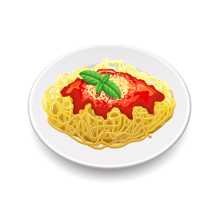 Spaghetti bolognese isolated on white photo-realistic vector illustration