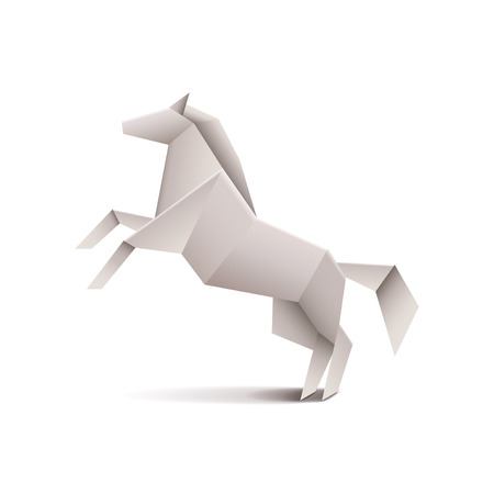 Origami horse isolated on white photo-realistic vector illustration