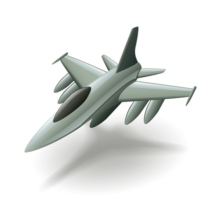 Military aircraft isolated on white photo-realistic vector illustration