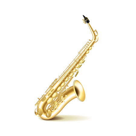 brass wind: Saxophone isolated on white photo-realistic vector illustration