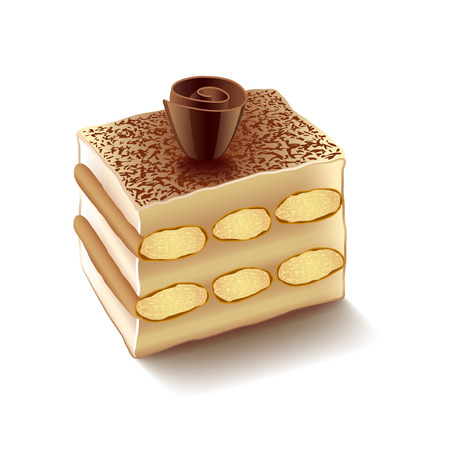 Tiramisu isolated on white photo-realistic vector illustration Illusztráció