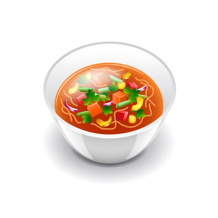 garlic bread: Minestrone soup isolated on white photo-realistic vector illustration Illustration