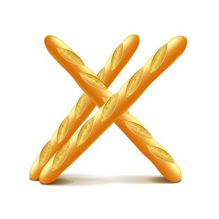 Baguettes isolés sur la photo-réaliste blanc illustration vectorielle