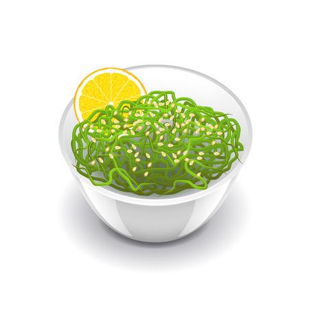 algas marinas: ensalada de wakame aislado en blanco ilustración vectorial foto-realista