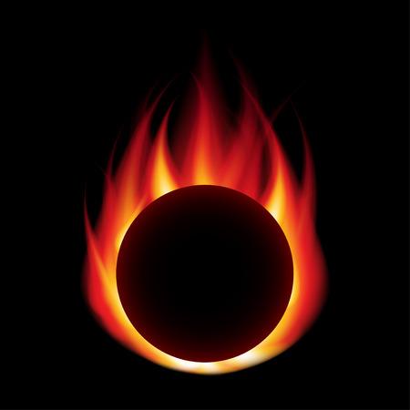 Kula ognia izolowanych na czarno fotorealistycznych ilustracji wektorowych