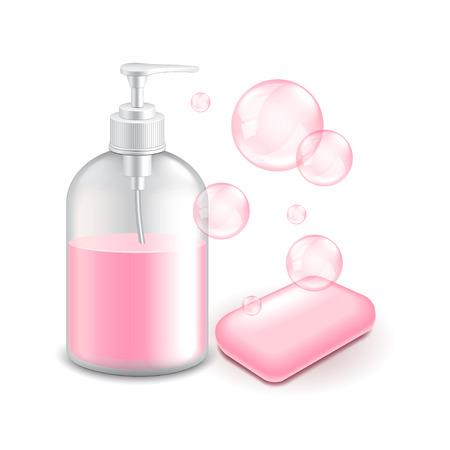 jabon: El jabón y las burbujas aisladas en blanco ilustración vectorial foto-realista