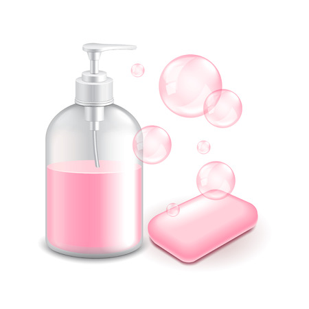 Soap and bubbles isolated on white photo-realistic vector illustration Illustration