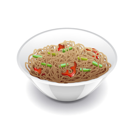 buckwheat noodle: Soba noodles isolated on white photo-realistic vector illustration