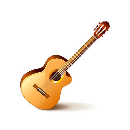 photorealistic: Classic guitar isolated on white photo-realistic vector illustration Illustration