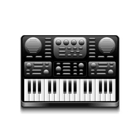 synthesizer: Synthesizer isolated on white photo-realistic vector illustration