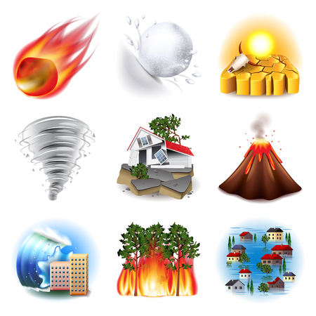 flood: Natural disasters icons photo realistic vector set
