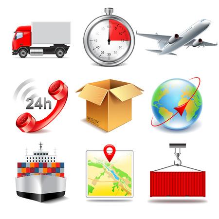 photo realistic: Logistics icons detailed photo realistic vector set Illustration