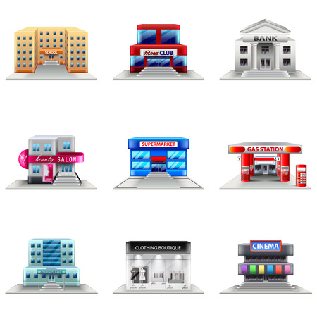 photo realistic: Town buildings icons photo realistic vector set