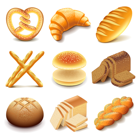 Bread and bakery icons detailed photo realistic vector set