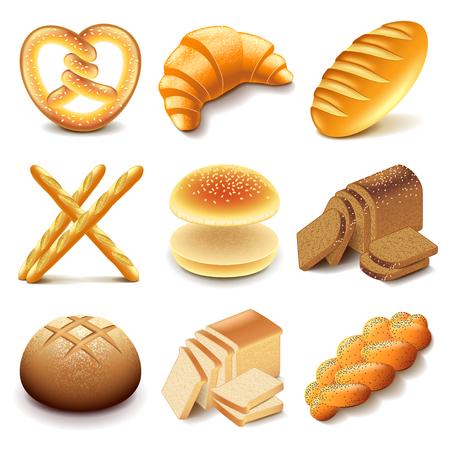 Brood en bakkerijproducten iconen gedetailleerde fotorealistische vector set