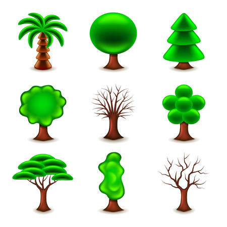 tree silhouettes: Tree forms icons detailed photo realistic vector set