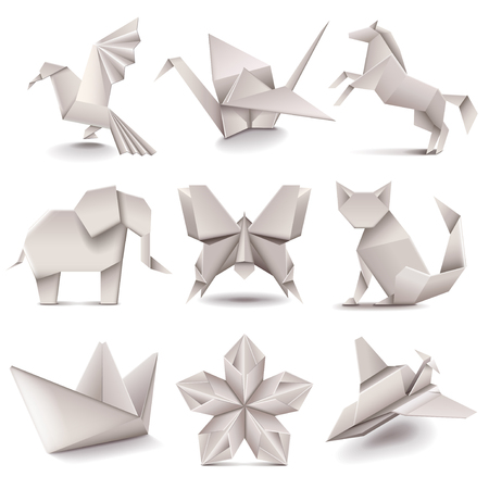 paper art: Origami icons detailed photo realistic vector set