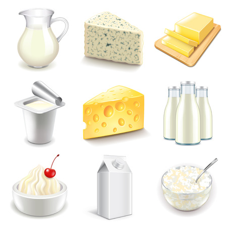 Dairy products icons detailed photo realistic vector set