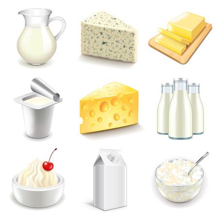 lacteos: Productos lácteos iconos foto detallada conjunto realista del vector Vectores