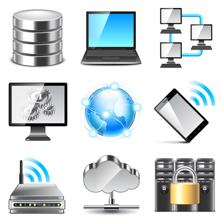 datacenter: Network icons detailed photo realistic vector set