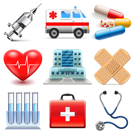 medical heart: Medical icons detailed photo realistic vector set Illustration