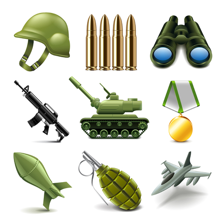 photo realistic: Army icons detailed photo realistic vector set