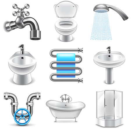Plumbing icons detailed photo realistic vector set
