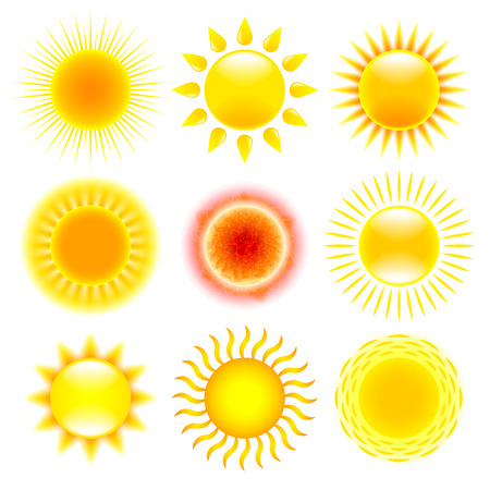 cartoon orange: Sun icons detailed photo realistic vector set