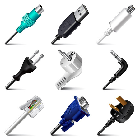 Cables and plugs icons detailed photo realistic vector set Stock Illustratie