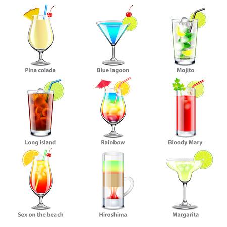 Cocktails icons detailed photo realistic vector set Vektorové ilustrace
