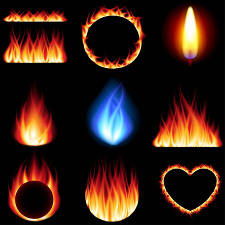 embers: Fire forms icons detailed photo realistic vector set
