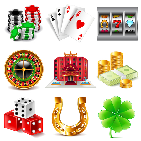 カジノとギャンブルの詳細な写真現実的なベクトルのアイコンを設定