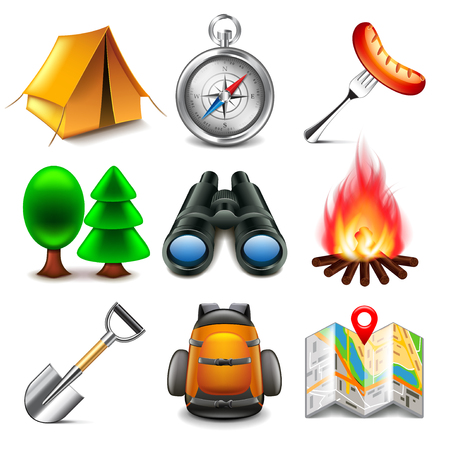 boy scouts tent: Camping icons detailed photo realistic vector set