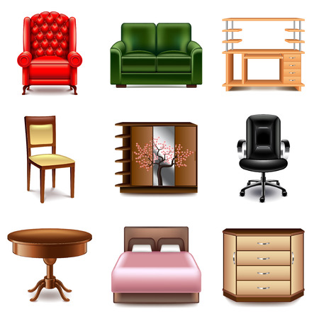 photo realistic: Furniture icons detailed photo realistic vector set
