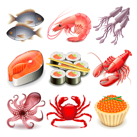 Seafood icons detailed photo realistic vector set