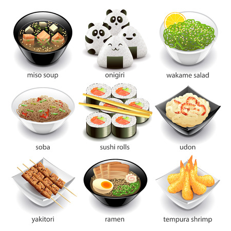 appetizers: Japan food icons detailed photo realistic vector set