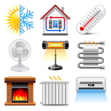 heating cooling icon. heating and cooling icons realistic vector set icon