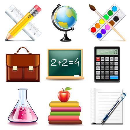 photo realistic: School icons detailed photo realistic vector set Illustration