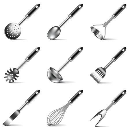 Kitchen utensils icons photo realistic vector set