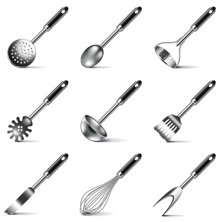 ladle: Kitchen utensils icons photo realistic vector set